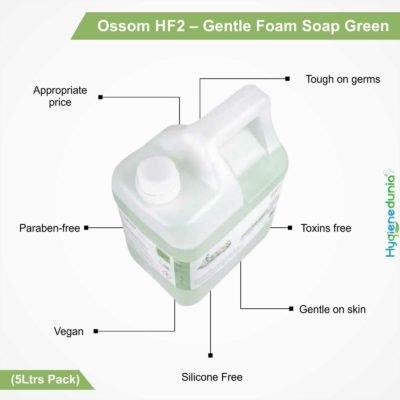 Ossom HF2 - Gentle Foam Soap, Green (5Ltrs Pack)