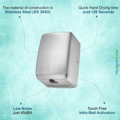 OSSOM® SS High Low Sound Hand Dryer