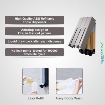 Ossom RICH Soap Dispenser 500ml Trio Grey Slim Design