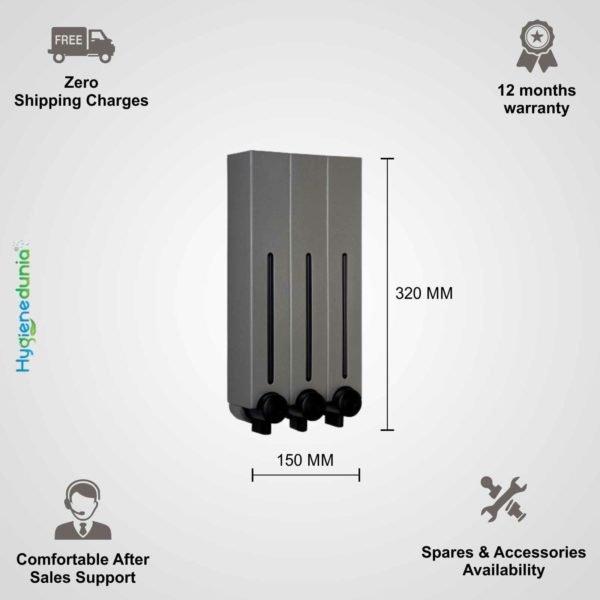 OSSOM® RICH Soap Dispenser 500ml Trio Grey Triple Dispensers